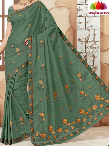 Anagha Sarees Pure Cotton Rich Cotton Embroidery Saree - Dark Green  ANA_628