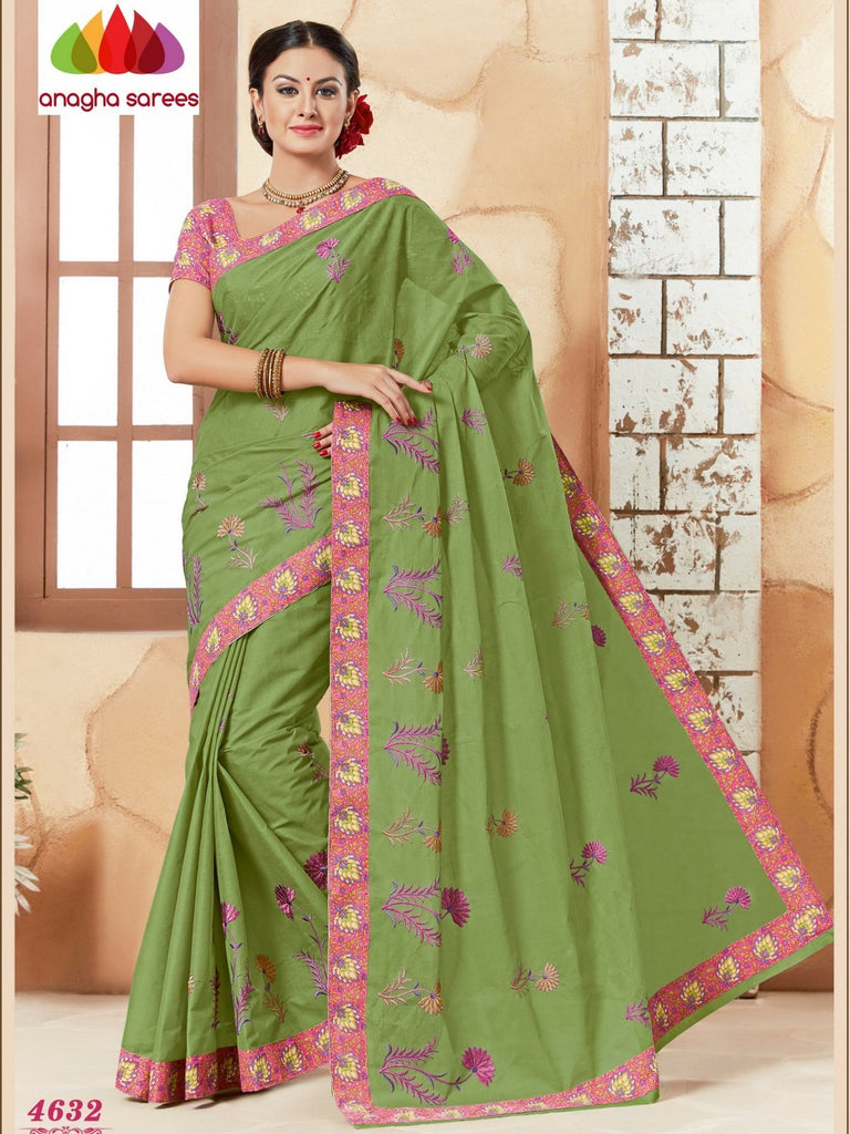 Rich Cotton Embroidery Saree - Dark olive green ANA_629 Anagha Sarees