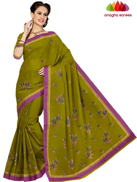 Rich Cotton Embroidery Saree - Dark Olive Green : ANA_D26