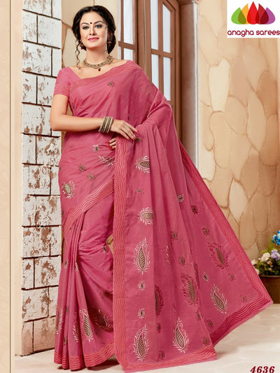 Rich Cotton Embroidery Saree - Dark Pink ANA_630 - Anagha Sarees