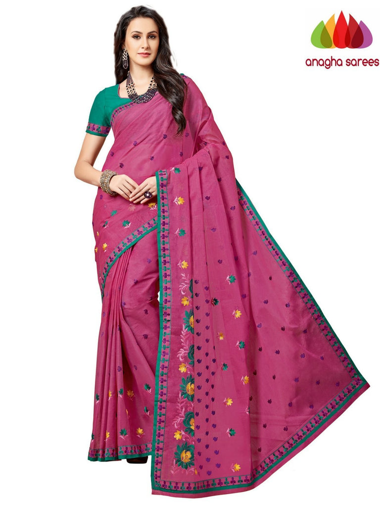 Anagha Sarees Pure Cotton Rich Cotton Embroidery Saree - Dark Pink  ANA_A86