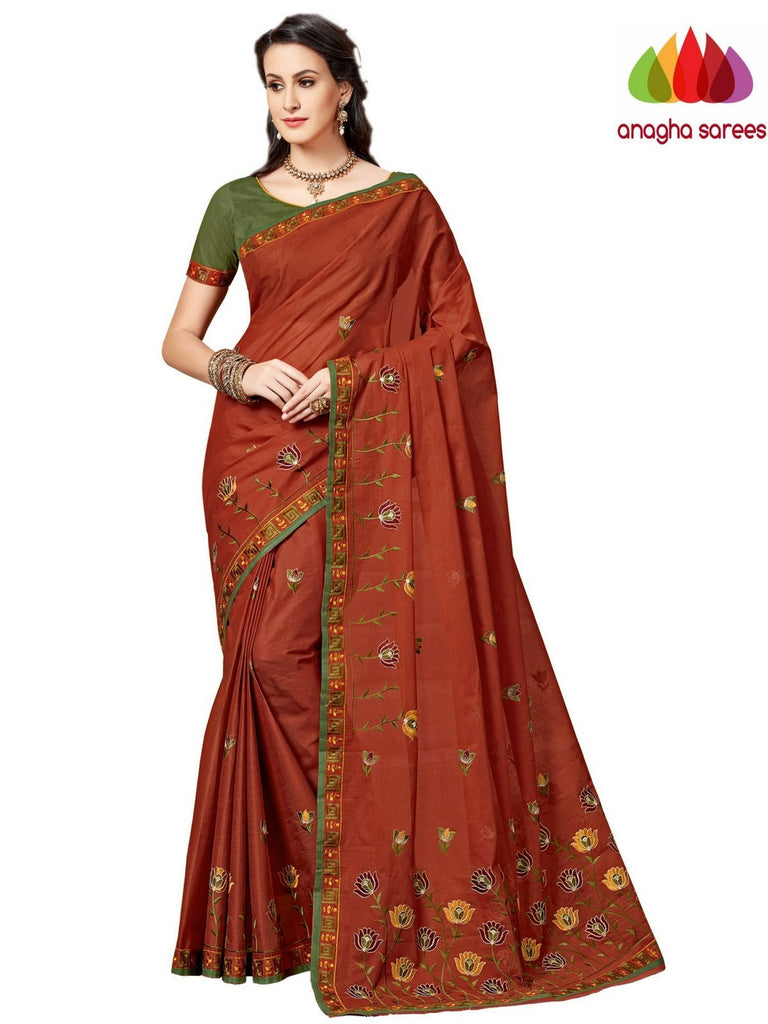 Rich Cotton Embroidery Saree - Dark Rust ANA_A92 Anagha Sarees