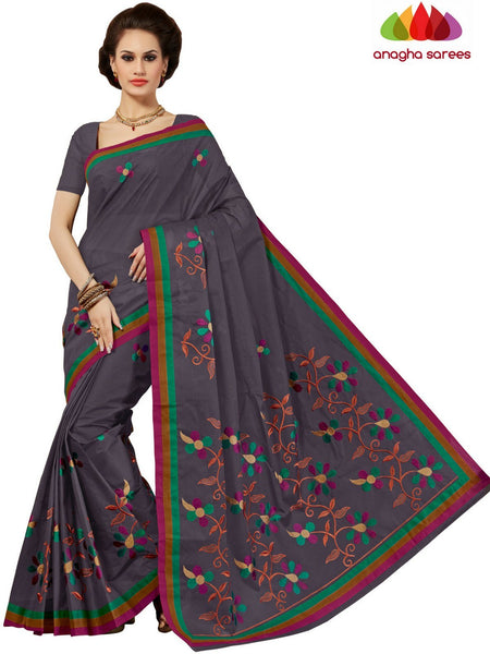 Rich Cotton Embroidery Saree - Elephant Grey : ANA_D27