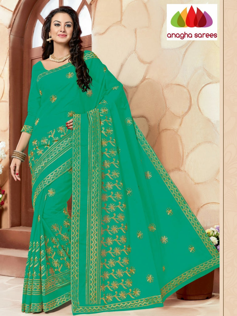 Rich Cotton Embroidery Saree - Light Green ANA_631 Anagha Sarees