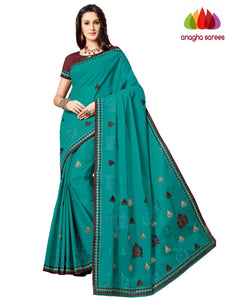 Rich Cotton Embroidery Saree - Green ANA_A87