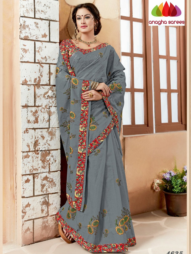 Rich Cotton Embroidery Saree - Grey ANA_632 Anagha Sarees