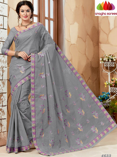 Rich Cotton Embroidery Saree - Grey ANA_633 - Anagha Sarees