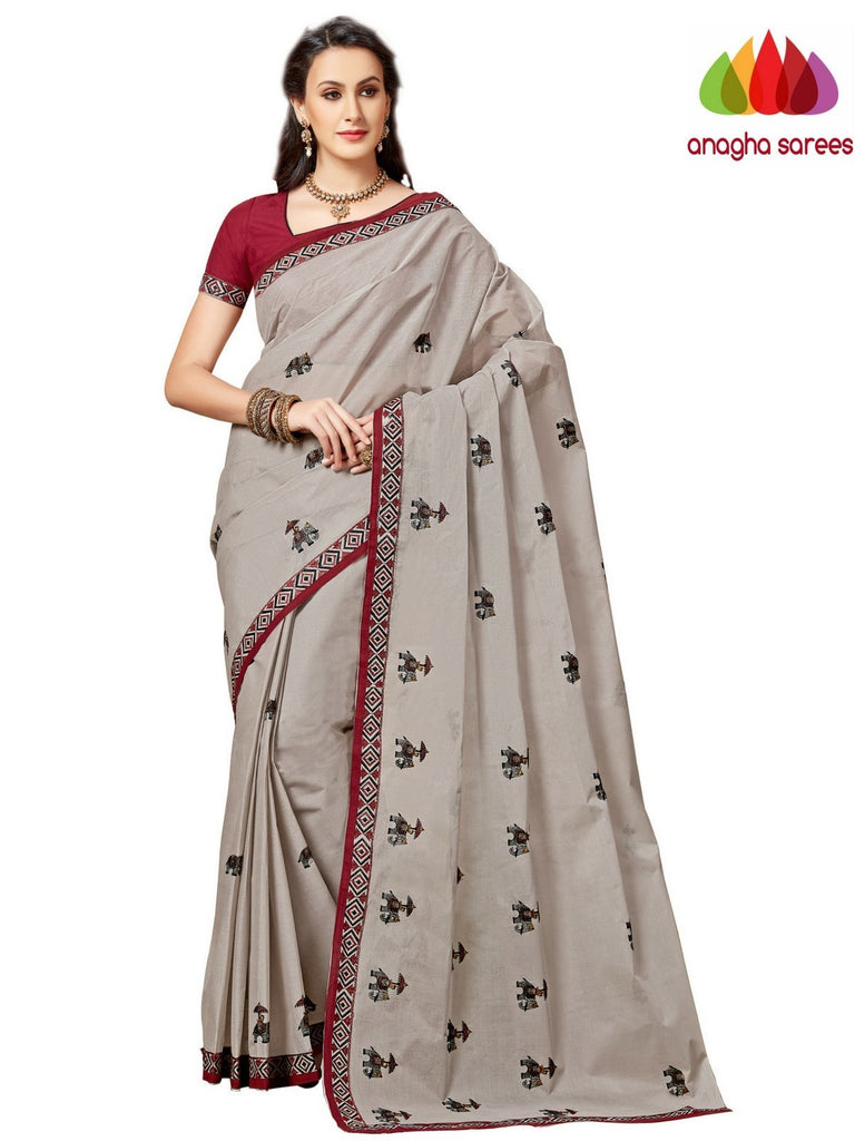 Rich Cotton Embroidery Saree - Grey ANA_A97 Anagha Sarees