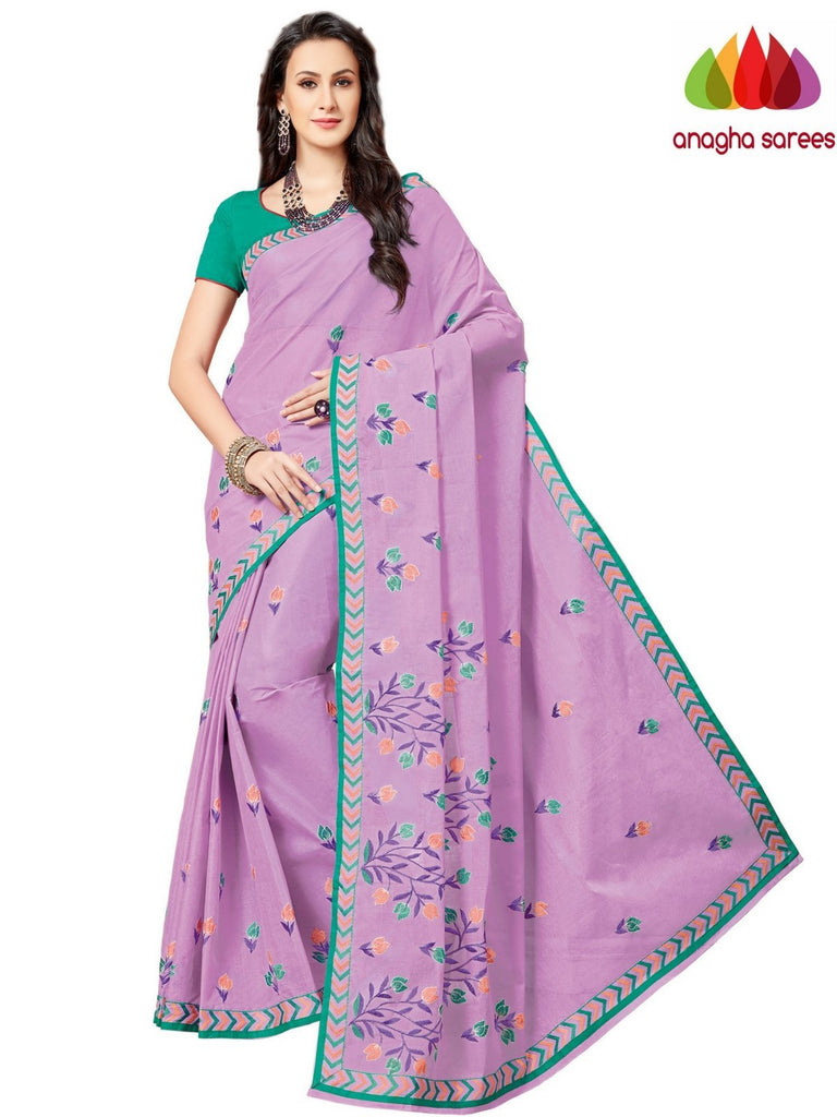 Rich Cotton Embroidery Saree - Lavender  ANA_A85 Anagha Sarees