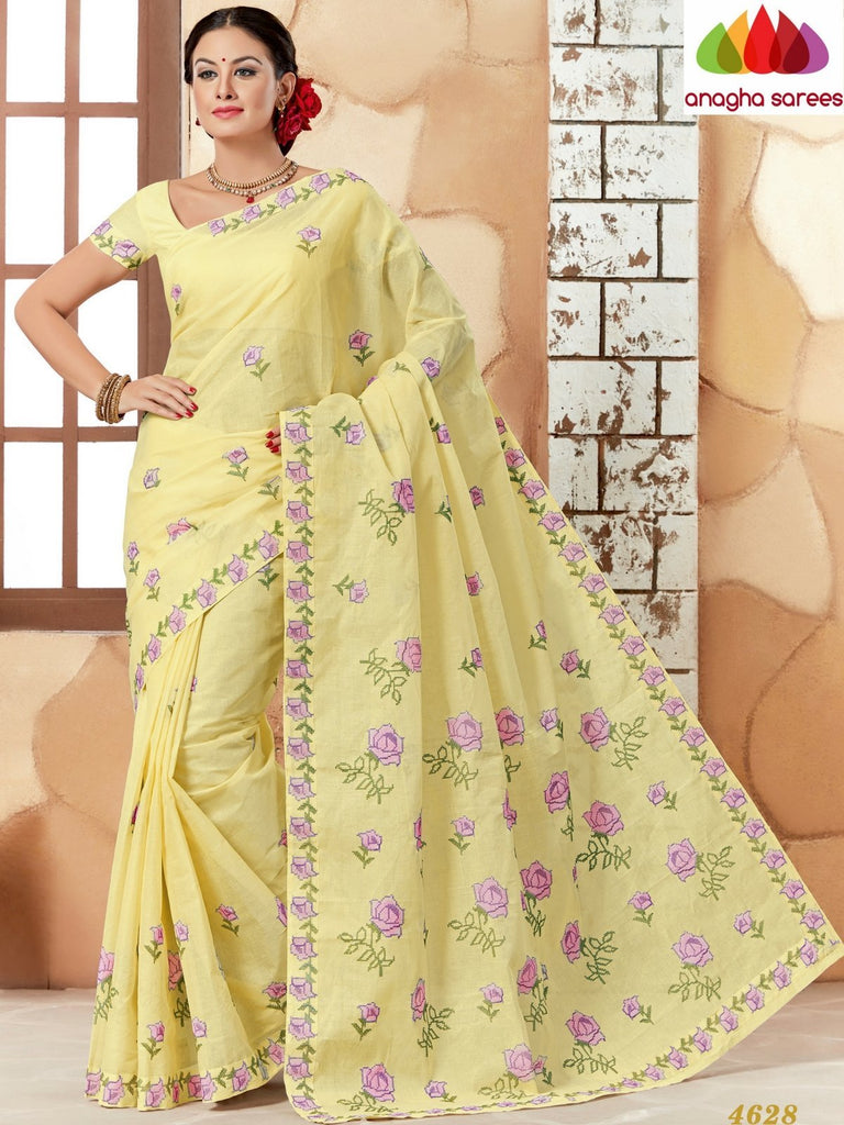 Rich Cotton Embroidery Saree - Lemon Yellow ANA_634 Anagha Sarees
