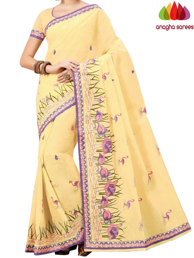 Rich Cotton Embroidery Saree - Lemon Yellow  ANA_A83 - Anagha Sarees