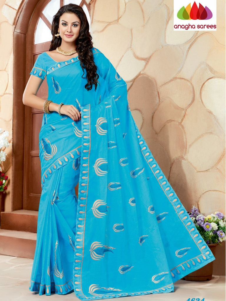 Rich Cotton Embroidery Saree - Light Blue ANA_635 Anagha Sarees