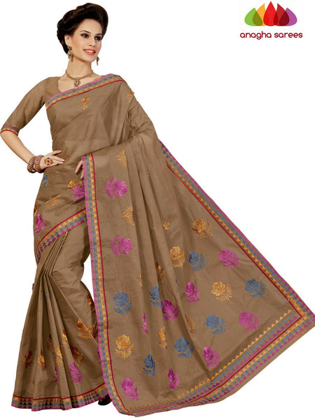 Anagha Sarees Pure Cotton Rich Cotton Embroidery Saree - Light Brown : ANA_D28