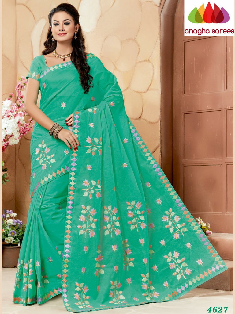 Rich Cotton Embroidery Saree - Pista green ANA_636 Anagha Sarees