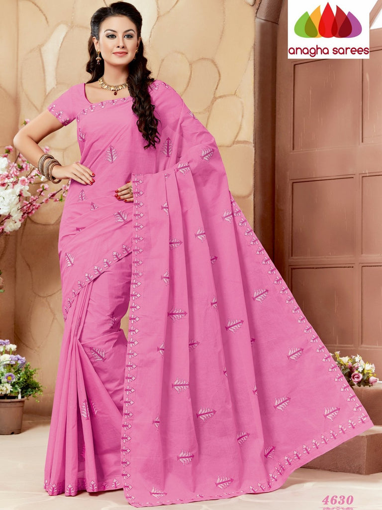 Anagha Sarees Pure Cotton Rich Cotton Embroidery Saree - Light pink ANA_637