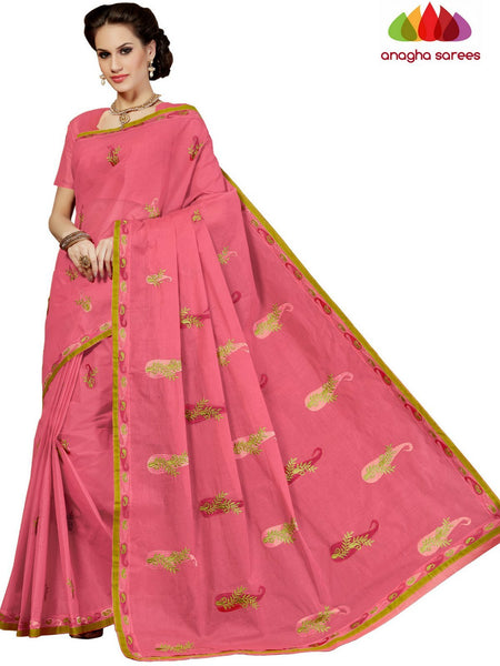 Rich Cotton Embroidery Saree - Lotus Pink : ANA_D30