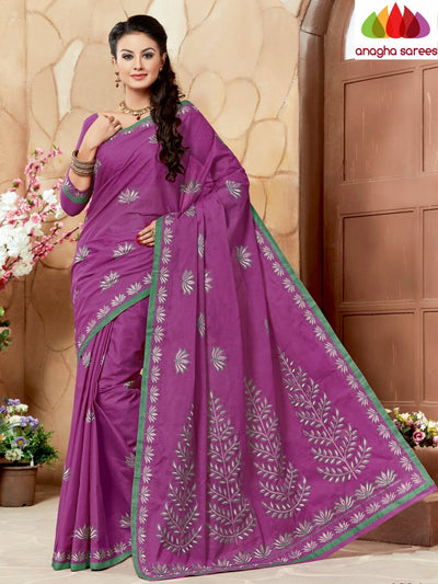 Rich Cotton Embroidery Saree - Magenta ANA_641 - Anagha Sarees