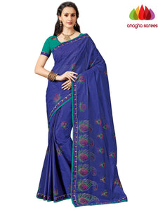 Rich Cotton Embroidery Saree - Navy Blue ANA_A94