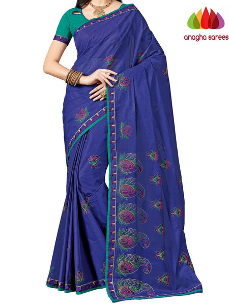 Anagha Sarees Pure Cotton Rich Cotton Embroidery Saree - Navy Blue ANA_A94