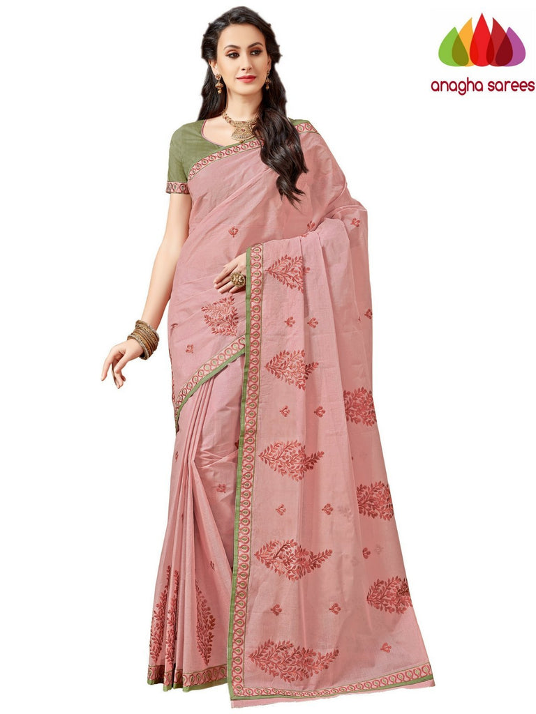 Rich Cotton Embroidery Saree - Onion Pink ANA_A90 Anagha Sarees
