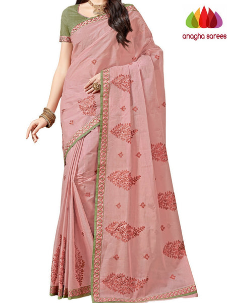 Anagha Sarees Pure Cotton Rich Cotton Embroidery Saree - Onion Pink ANA_A90
