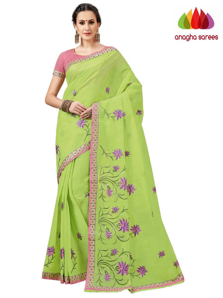 Anagha Sarees Pure Cotton Rich Cotton Embroidery Saree - Parrot Green  ANA_A84