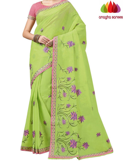 Rich Cotton Embroidery Saree - Parrot Green  ANA_A84 - Anagha Sarees