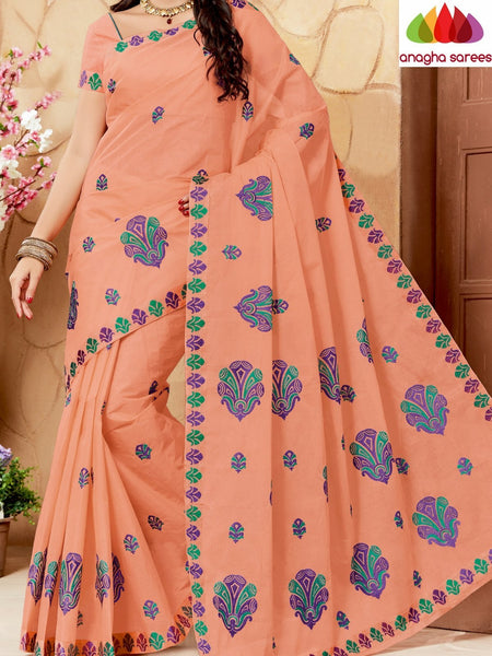 Anagha Sarees Pure Cotton Rich Cotton Embroidery Saree - Peach ANA_639