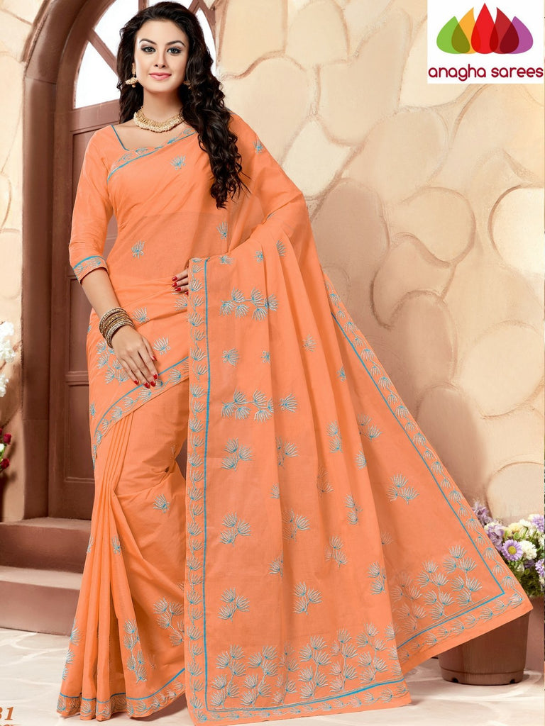 Rich Cotton Embroidery Saree - Peach ANA_640 Anagha Sarees