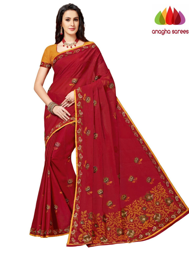 Rich Cotton Embroidery Saree - Red ANA_A95 Anagha Sarees