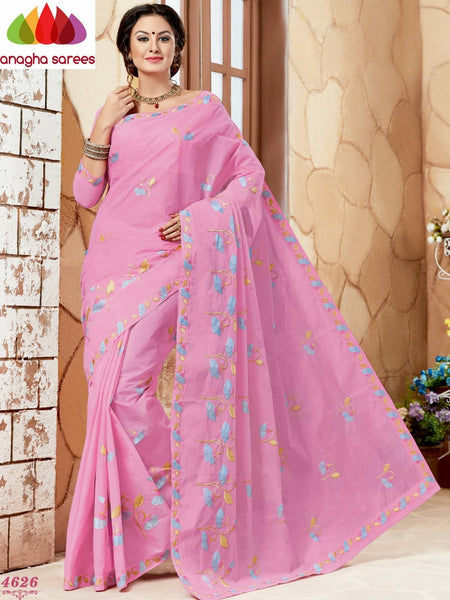 Anagha Sarees Pure Cotton Rich Cotton Embroidery Saree - Rose ANA_638
