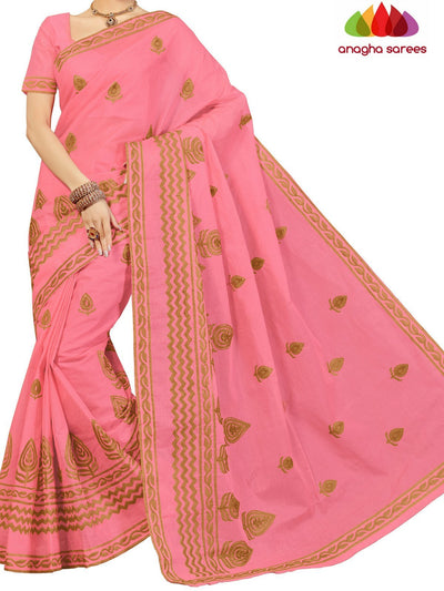 Rich Cotton Embroidery Saree - Rose : ANA_D22 - Anagha Sarees
