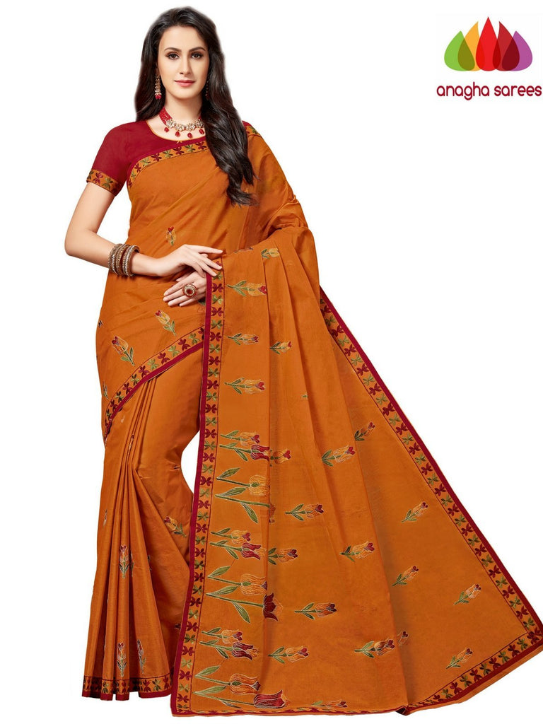 Rich Cotton Embroidery Saree - Rust ANA_A88 Anagha Sarees