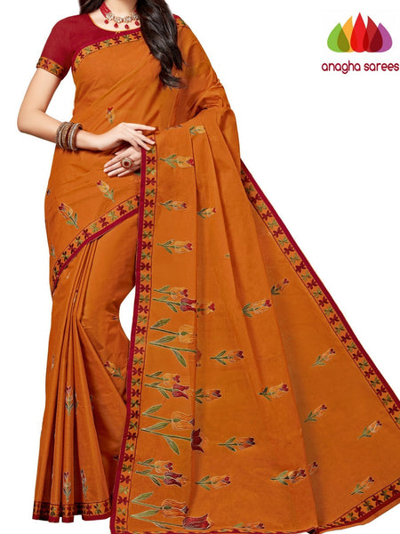 Anagha Sarees Pure Cotton Rich Cotton Embroidery Saree - Rust ANA_A88