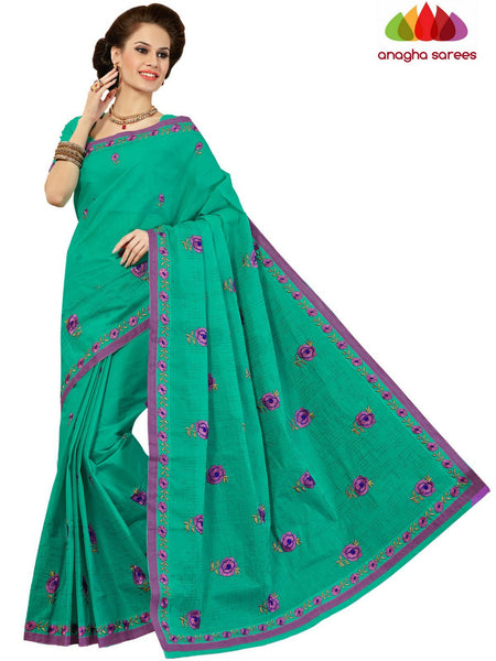 Rich Cotton Embroidery Saree - Sea Green : ANA_D29