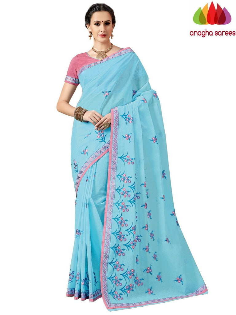 Rich Cotton Embroidery Saree - Sky Blue ANA_A93 Anagha Sarees