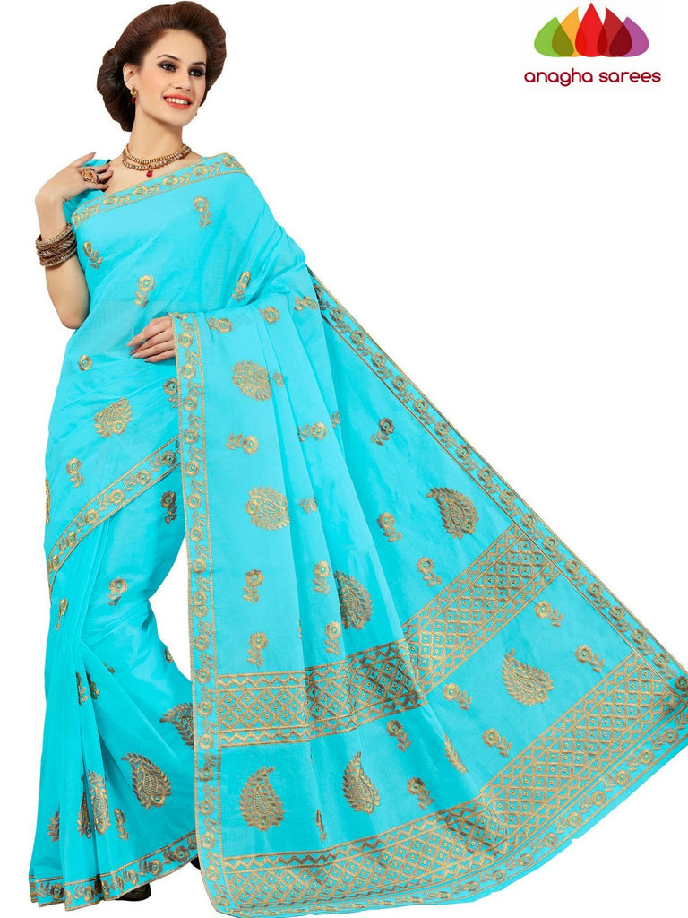 Anagha Sarees Pure Cotton Rich Cotton Embroidery Saree - Sky Blue : ANA_D23