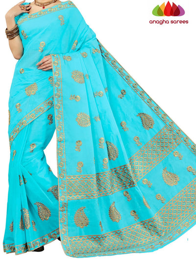 Rich Cotton Embroidery Saree - Sky Blue : ANA_D23 - Anagha Sarees