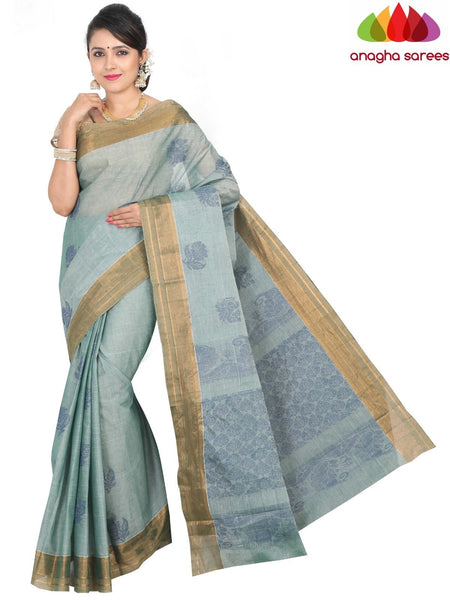 Anagha Sarees Pure Cotton standard / Bluish Green Handloom Rich Cotton Saree - Bluish Green : ANA_H31