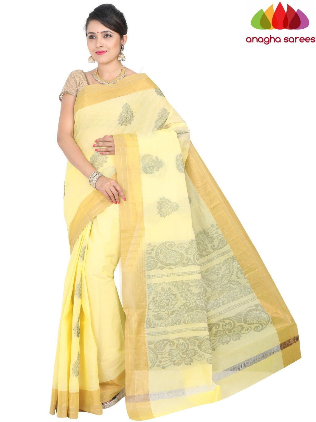 Anagha Sarees Pure Cotton standard / Lemon Yellow Handloom Rich Cotton Saree - Lemon Yellow : ANA_H30