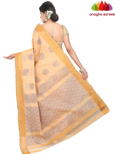 Handloom Rich Cotton Saree - Light Orange : ANA_H28 - Anagha Sarees