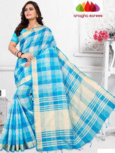 Anagha Sarees Pure Linen Cotton Length=6.2 m with blouse / Sky Blue Rich Cotton Linen Saree - Sky Blue : ANA_H83