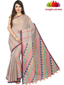 Digital Print Pure Linen Saree - Beige : ANA_G26