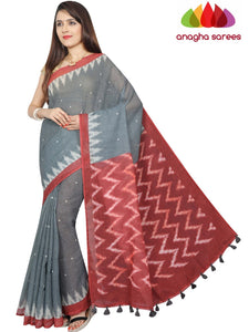 Digital Print Pure Linen Saree - Grey : ANA_G27