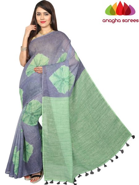 Pure Linen Shibori Saree - Grey : ANA_G29