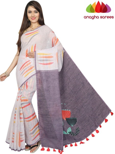 Digital Print Pure Linen Saree - Light Lavender : ANA_G28