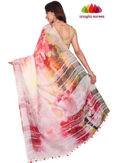 Digital Print Pure Linen Saree - Light Pink ANA_F57 - Anagha Sarees