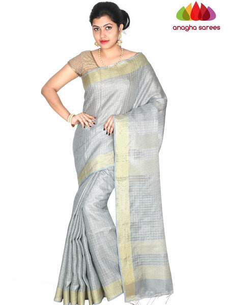 Anagha Sarees Pure Linen Length=6.2metres, width= 45 inches / Grey Pure Linen Saree - Grey : ANA_H41