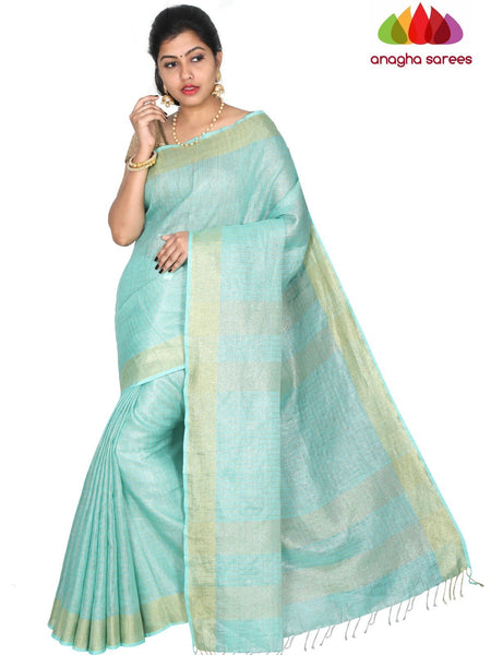 Anagha Sarees Pure Linen Length=6.2metres, width= 45 inches / Lavender Pure Linen Saree - Sea Green : ANA_H43