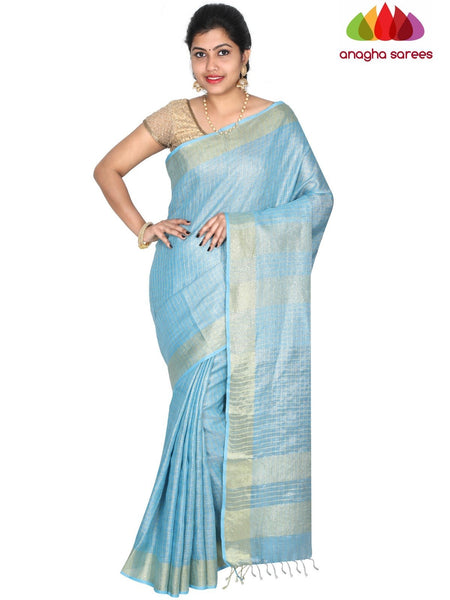 Anagha Sarees Pure Linen Length=6.2metres, width= 45 inches / Light Blue Pure Linen Saree - Light Blue : ANA_H47